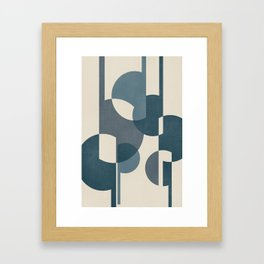 Intersecting Geometric Segments and Lines -Abstract Design in Teal, Aqua, Blue and Ivory Framed Art Print