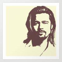 brad pitt Art Prints featuring Brad Pitt :) by Dora Birgis
