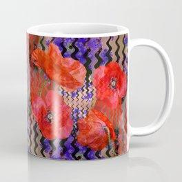 Summer Joy, abstract waves with poppies Coffee Mug