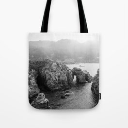 Ocean Arches - Black and White Landscape Photography Tote Bag