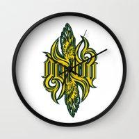 warcraft Wall Clocks featuring Angel 3K ambigram by LoneLeon