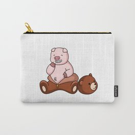 Funny Pig Wears Grizzly Bear Costume Carry-All Pouch