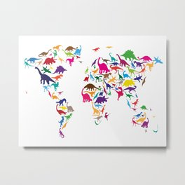 Dinosaur Map of the World Map Metal Print