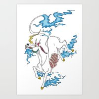 tatoo Art Prints featuring Unicorn Tatoo by DogoD Art