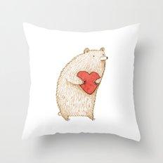 Bear with Heart Throw Pillow
