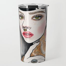 The Girl and Her Cat Travel Mug