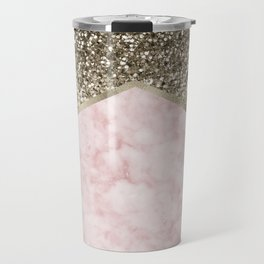 Shimmering golden chevron pink marble Travel Mug