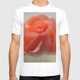 Romantic Peachy Rose Floral T-shirt