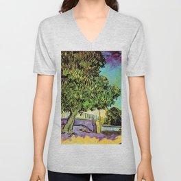 Vincent van Gogh : Blossoming Chestnut Tree 1887 Unisex V-Neck