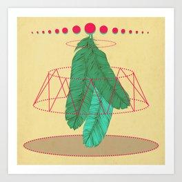 blugreenish circled feathers Art Print