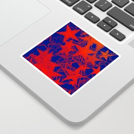 Vector blue background in red stars. For registration of paper or banners. Sticker