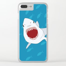 Shark Attack Underwater With Fish Swimming In The Background Clear iPhone Case
