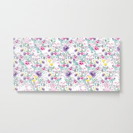 Floral Beauty | Purple, Pink and Yellow Flowers Pattern Metal Print