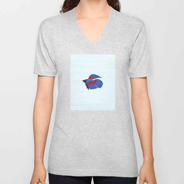 betta splendens royal blue male Unisex V-Neck