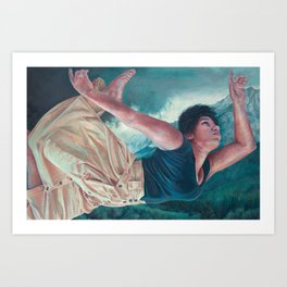 God's Orchestra, oil painting portrait of woman flying, lighthouse, dress, strong powerful woman Art Print