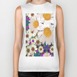 PURPLE-TEAL ACCENTS WHITE DAISIES GARDEN  ART Biker Tank