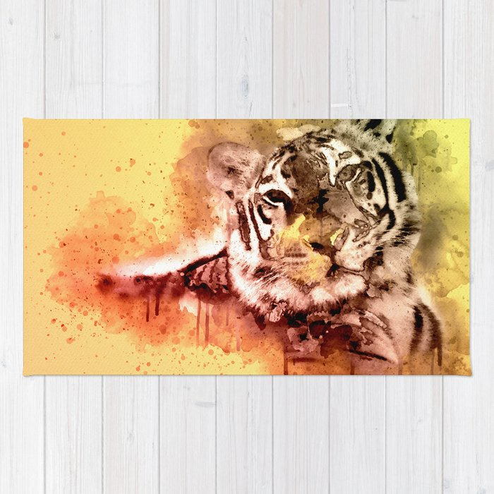 Tiger Watercolor Painted Art Cool Splatter Design Decor