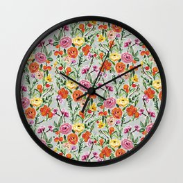 Clementine Floral Wall Clock