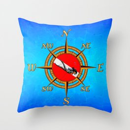 Woman Diver And Compass Throw Pillow