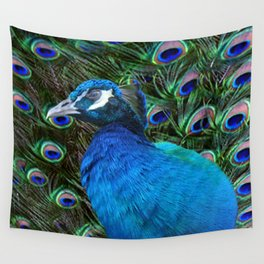 Blue Peacock and Feathers Wall Tapestry