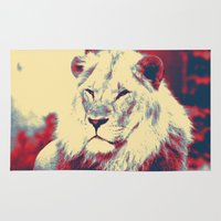 popart Area & Throw Rugs featuring Lion popart by MehrFarbeimLeben