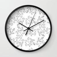 anchors Wall Clocks featuring Anchors by Bethany Mallick
