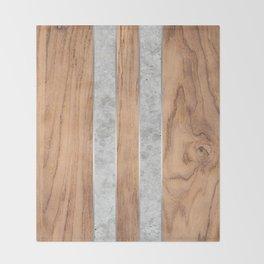Wood Grain Stripes - Concrete #347 Throw Blanket