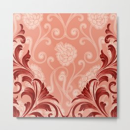 Abstract Lily Scroll | peach coral Metal Print