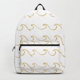 Gold Foil Ocean Waves Pattern Backpack
