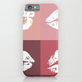 Pink Lipstick Kisses iPhone Case