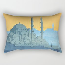 Mid Century Modern Travel Vintage Poster Istanbul Turkey Grand Mosque Rectangular Pillow