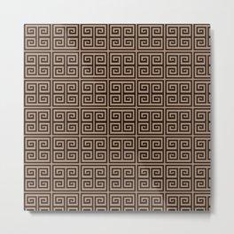 Geometric Beige Brown Greek Pattern Elegant Metal Print