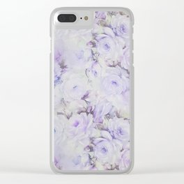 Vintage lavender gray botanical roses floral Clear iPhone Case