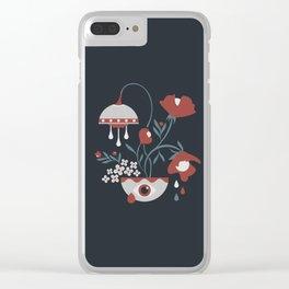 Dark Funky Flowers Clear iPhone Case