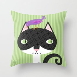 Tuxedo Cat and Purple Bird Throw Pillow