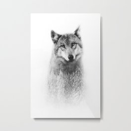 The Wolf and the Forest Metal Print
