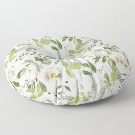White and Cream Roses with Gentle Green Foliage  Floor Pillow