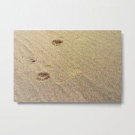 Footprints in the Sand in my Walk on the Beach Metal Print