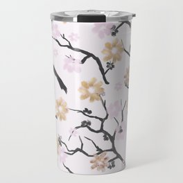 Blush pink black gold watercolor elegant floral Travel Mug