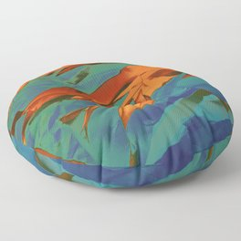 Green, Orange and Blue Abstract Floor Pillow