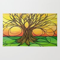 tree of life Area & Throw Rugs featuring Tree Life  by R.Blume