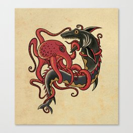 tattoo design - octopus fighting shark Canvas Print