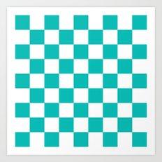 Checker (Tiffany Blue/White) Art Print