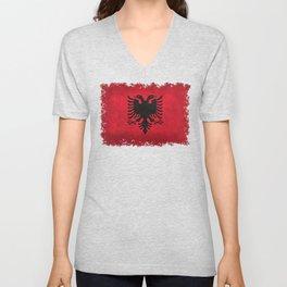 Albanian Flag in Vintage Retro Style Unisex V-Neck