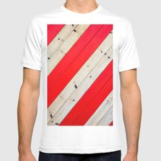 RED - WOOD - STRIPE - PHOTOGRAPHY MEDIUM Mens Fitted Tee White