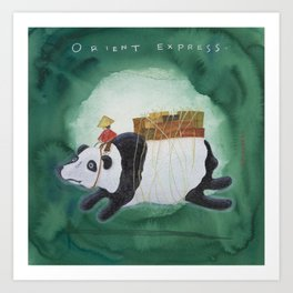 Big Panda Bear delivers gift packages like a Courier - Painting by Lisa Rotenberg Art Print