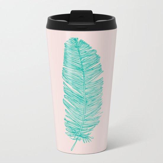 Turquoise feather Metal Travel Mug