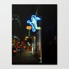 Neon Sign Roller Girl Los Angeles Canvas Print