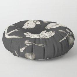 Bones and Botanical Sketches Floor Pillow