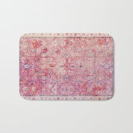 N45 - Pink Vintage Traditional Moroccan Boho & Farmhouse Style Artwork. Bath Mat